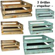 Bunte Holzkisten verschiedene Farben