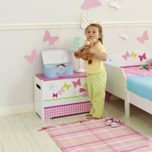 schmetterlinge und blumen spielzeugkiste f r kinder. Black Bedroom Furniture Sets. Home Design Ideas
