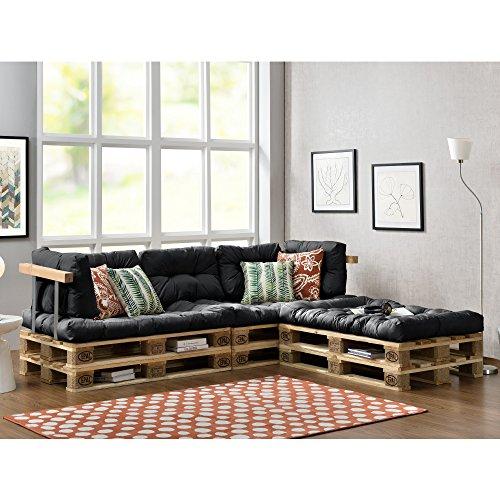 Euro Paletten-Sofa mit Kissen in grau